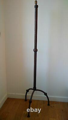 Rare Floor Lamp Art Deco Crudeist Wrought And Hammered Iron Signed Very Nice Condition