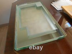 Rare Large Art Deco Top In Thick Glass Jean Luce Unsigned