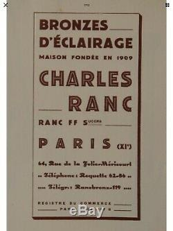 Rare Luster Art Deco Sign France C. Ranc 1930 Tulip Diffuser Plate Daum Muller