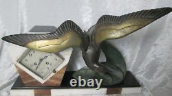 Rare Pendulum Art Deco Decoration Of Seagull On Marble Signed Irénée Rochard