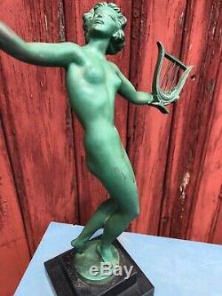 Regule Art Deco Sign Fayral 1930 Naked Woman In La Harpe