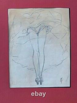 René Gruau Red MILL Woman Pencil Drawing Signed