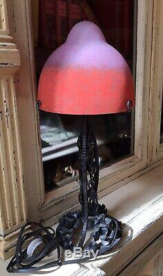 Rethondes Art Deco Lamp Signed Wrought Iron And Glass Paste (muller Schneider.)
