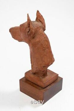 Richard Fath Doberman's Head, Original Terracotta Signed. Art Deco Period