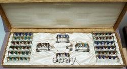 Salerons + Knife Holders Art Deco 1925 Signed Moreau Glass + Enamel
