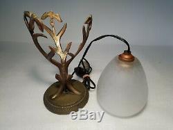 Schneider Lamp Pilot Bronze Branches Decor Art Deco Tulip Signed