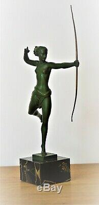Sculpture Art Deco Diana In The French Artist Jean De Marco
