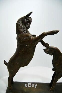 Sculpture Art Deco Fighting Kids Signed Irenaeus Regulates Rochard