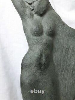 Sculpture Art Deco Signed Woman Harp Enfrch Artist Archipenko Frères Martel