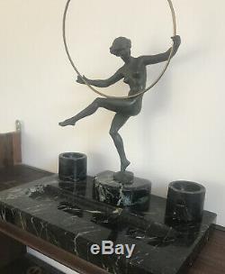Sculpture Bronze Signed Exotic Dancer Marcel Briant Bouraine Art Deco 1930