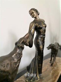 Sculpture, Bronze Statue''woman At Levriers'' Art Deco Signed Erget