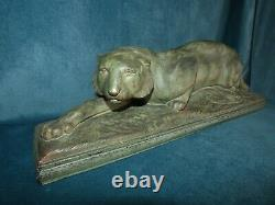 Sculpture Panther Earth Cuite Art Deco Signed On Terrace Circa 1930