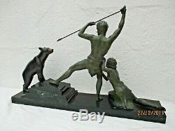 Sculpture Torque Hunter Polar Bear Statue Art Deco Carving Uriano Ugo Cipriani