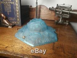 Signed Art Deco Chandelier Degué Suspension Basin Paste Blue Glass