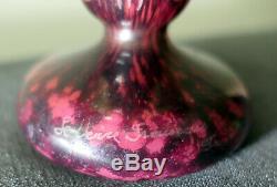 Signed Le Verre French Schneider Trophy Vase Model Pigweed Art Deco 1930