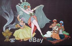 Signed Painting Hoft Dated 1930 Les Mille Et Une Nuits Orientalism Art Deco