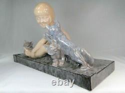 Spl. Great Sculpture Ceramic Cats Art Deco Signee Lemoine Spirit Chiparus