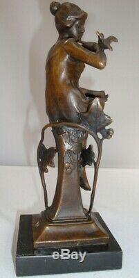 Statue Bird Naked Art Deco Style Art Nouveau Bronze Massive Sign