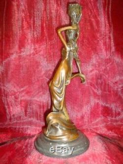 Statue Candlestick Style Art Deco Style Art Nouveau Solid Bronze Sign