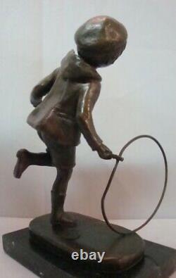 Statue Child Art Deco Style Art Nouveau Bronze Massive Sign