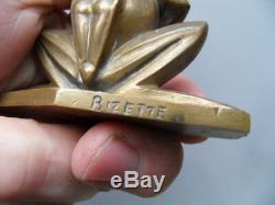 Statue Deco Press Papers Office Frog Art Deco Signed Bizette