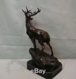 Statue Deer Hunting Art Deco Style Art Nouveau Bronze Massive Sign