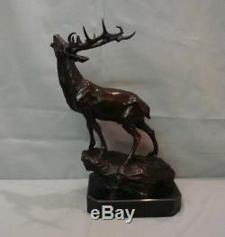 Statue Deer Hunting Style Art Deco Style Art Nouveau Solid Bronze Sign