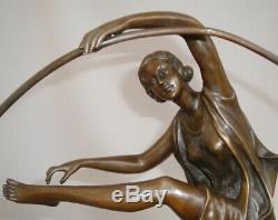 Statue Hoop Sexy Style Art Deco Art Nouveau Bronze Massive Sign