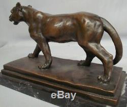 Statue Lion Lioness Art Deco Style Art Nouveau Bronze Massive Sign