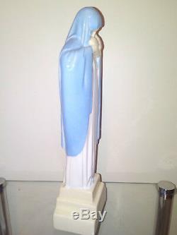 Statue Madonna And Child Signed Heuvelmans Art Deco Porcelain Enameled Ditto Robj