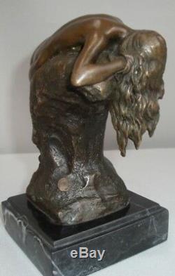 Statue Naked Sexy Style Art Deco Art Nouveau Bronze Massive Sign