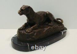 Statue Sculpture Animal Lion Style Art Deco Style Art Nouveau Massif Bronze S