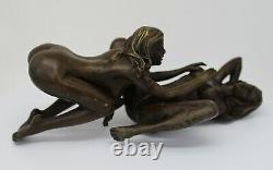 Statue Sculpture Couple Sexy Style Art Deco Massive Bronze Sign