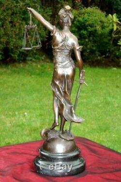 Statue Sculpture Justice Themis Art Deco Style Bronze Massive Sign