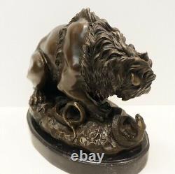 Statue Sculpture Lion Animal Style Art Deco Style Art New Solid Bronze S