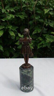 Statue Sculpture Pecheuse Style Art Deco Style Art New Solid Bronze Sign