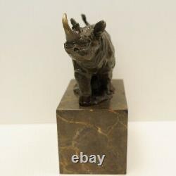 Statue Sculpture Rhinoceros Animalier Style Art Deco Massive Bronze Sign