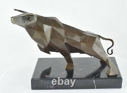 Statue Sculpture Taurus Animal Style Art Deco Massive Bronze Sign