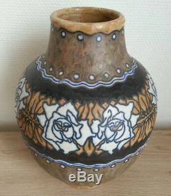 Sublime Former Big Vase Gres Signed Keramis Boch Frères Art Deco