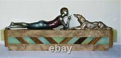 Superb And Large Statue Art Deco Signed Janle Marble Onyx (max Le Verrier)