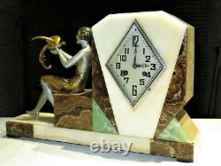 Superb Art Deco Pendulum Clock Signed Dauvergne French Spelter