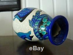 Superb Art Deco Vase, Ceramic Cracked Keramis Signed Charles Catteau 1925