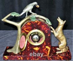 Superb Garnish / Pendulum Signed P. Sega In French Galalith Art Deco Clock