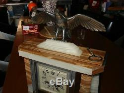Superb Mosaic Pendulum Onyx And Eagle Signed Ballesté To Perfect Condition In 1930