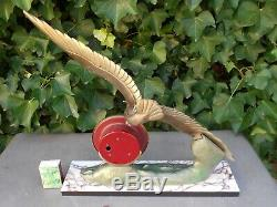 Superb Pendulum Art Deco Paris Silvoz Signed On Marble With Seagull In Flight