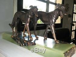 Superb Statue Art Deco Greyhound (scali) Signed On Marble (bousquet!) Borzoi