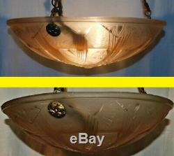Suspension Art Deco Luster Bowl Signed Muller Brothers. Butterflies. Ø 35 CM