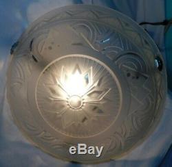 Suspension Art Deco Luster Bowl Signed Muller Brothers. Geometric. Ø 35 CM