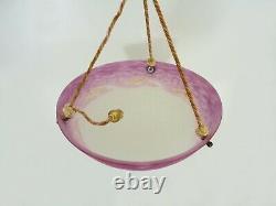 Suspension Calysque Art Deco 1 Fire, In Pink Glass Paste. Signed L'elf