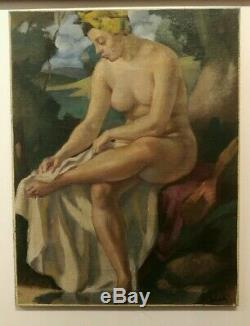 Table Ancient Creole Hst Female Nude Signed Gaston Marty Bordeaux Art Deco